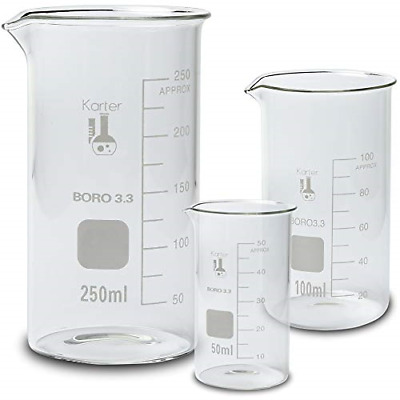 Glass Beaker Set, Tall Form - 3 Sizes - 50, 100 and 250ml Glassware & Labware
