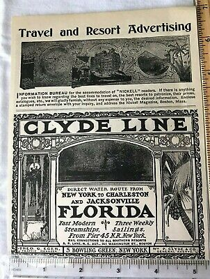 1900 Clyde Line Steamship Travel Antique Advertising Magazine Print Ad