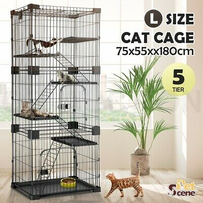 Petscene 5 Level Cat Rabbit Cage Hutch Wired Pet Kennel Enclosure Large Size