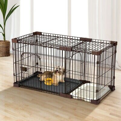Petscene Pet Cage Foldable Cat Dog Wired Crate Enclosure w/Divider 114*55*60cm