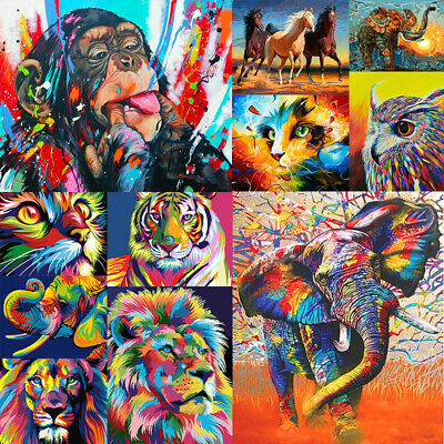Colorful Animal DIY Paint By Number Kit Digital Oil Painting Art Wall Home Decor