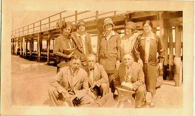 Old Antique Vintage Photograph Bunch of People Standing Under Piers at Beach