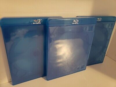 Bluray Replacement Case 16mm 3 Disc Triple Logo Blu Ray Movie Storage Case 5/8""