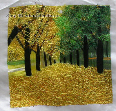 Chinese 100% hand embroidered silk suzhou embroidery art:maple trees 8inches