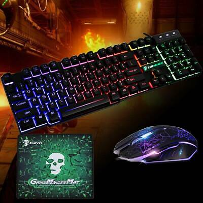 Rainbow T6 Backlight USB Wired Gaming Keyboard and Mouse Set For PC Laptop