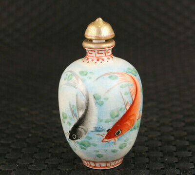 Rare chinese old porcelain fish snuff bottle noble decoration
