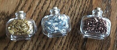 3 Gold, Silver & Copper Filled Vials Lot - Gold, Silver & Copper Flakes