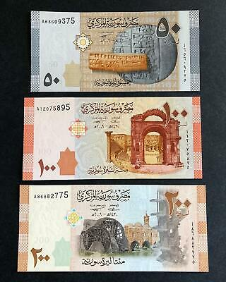 Syria 2009, UNC Set of 3 Banknotes: 200, 100, & 50 Pounds