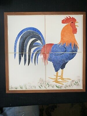 Rooster Tile Decorative Wood Frame Cutting Board/ Wall Art