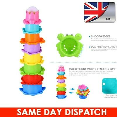8Pcs Building Beakers Nesting Cups Stacking Blocks Toddler Baby Bath Toy Gift