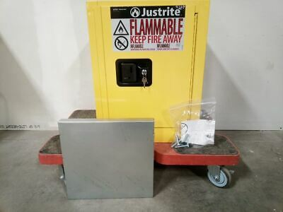 Justrite 890400 4 Gal Cap Yellow Galv Steel Flammable Liquid Safety Cabinet