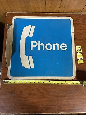 """Telephone Booth Pay Phone 18"""" x 18"""" Metal Sign - Vintage Double Sided Wall Sign"""