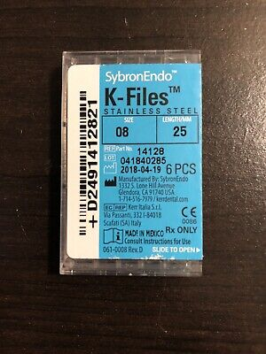 Kerr Dental 14128 SybronEndo Stainless Steel Endodontic K-Files 25mm #08 6/Bx