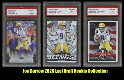 Joe Burrow 2020 Leaf Draft Set Collection 1St Graded 10 Rookie Card Rc Lot Of 3