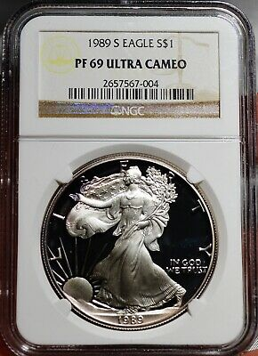 1989-S US Mint American Silver Eagle NGC PF 69 Ultra Cameo - Free Shipping USA