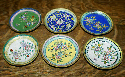 """SIX Antique Chinese Beautifully Enameled 3"""" Butter Pats * 6 Different Patterns"""
