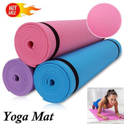 Non-Slip Yoga Mat For Exercise Fitness Pilates Camping Gym Meditation NBR Pad