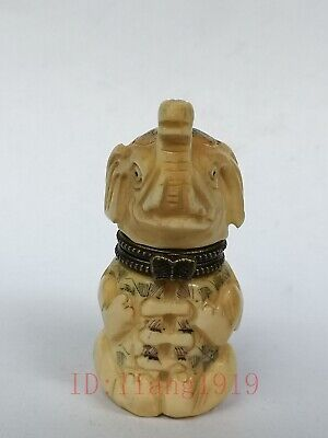 Collection Old Chinese Tibet Hand-carved vivid Elephant Statue Snuff Box Trinket