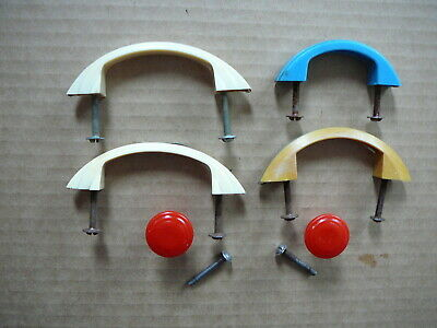SIX Vtg 1940s PLASTIC KITCHEN CABINET DRAWER PULLS & KNOBS WHITE RED BLUE YELLOW