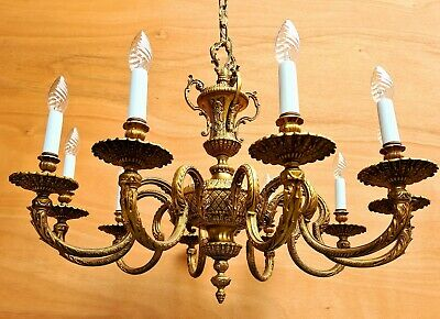 Gorgeous large French then-lights brass chandelier. ++
