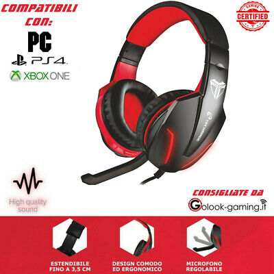 Cuffie Gaming F1 Per Pc Ps4 Xbox Con Microfono - Cavo Jack 3,5Mm - Led Rosso