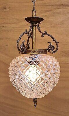 Small vintage French pineapple glass & brass hanging light. +++