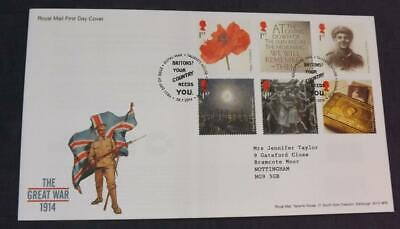 2014 The Great War 6 GB Stamps First Day Cover Tallents House SHS FD5H