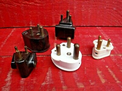 2 Vintage Bakelite Round Pin Electrical Plugs + 3 Round Pin Adaptors