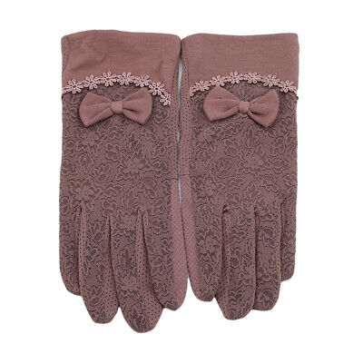 Bow Design Gloves Sun Anti UV Summer Driving Outdoor Lace Thin For Women CO