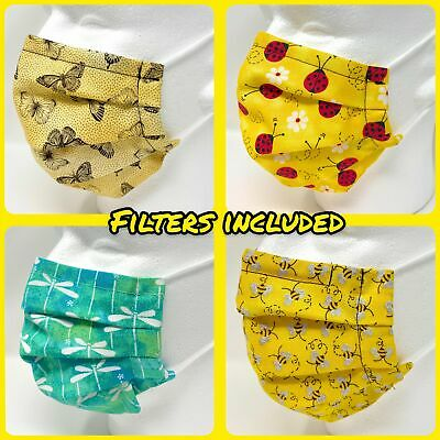 Face Mask - Pleated with Nose Wire Filter Pocket - Insects - Filters Included