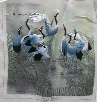 """Chinese 100% hand embroidered silk suzhou embroidery art:cranes dancing 8"""""""