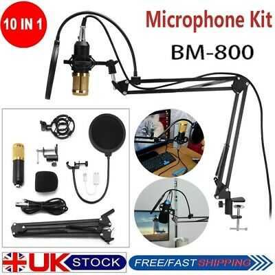 BM800 Condenser Microphone Mic Kit Sound Recording Live Studio Mount Boom Stand