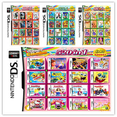 New*208/468/502/520 IN 1 Games Card Cartridge Multicart For Nintendo DS 3DS 2DS
