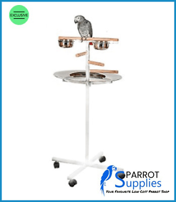 Parrot-Supplies T-Bar Parrot Play Stand With Steps, Feeders And Tray - White