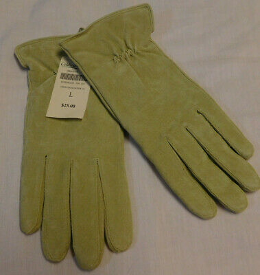 NWT Coldwater Creek Green Apple  Women's Suede Leather Gloves size L