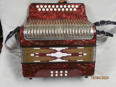 HOHNER CORSO 8 bass diatonic button accordion G/C 1970-1980 red marble