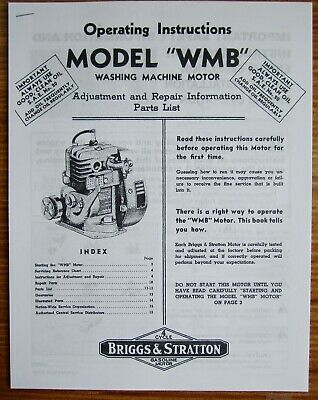 Briggs & Stratton Model WMB Operating Instructions Adjustment Repair Info Manual
