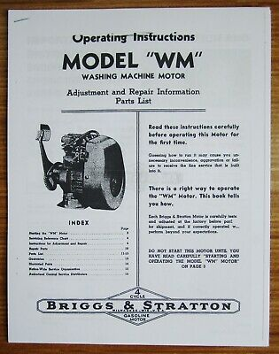 Briggs & Stratton Model WM Operating Instructions, Adjustment Repair Info Manual