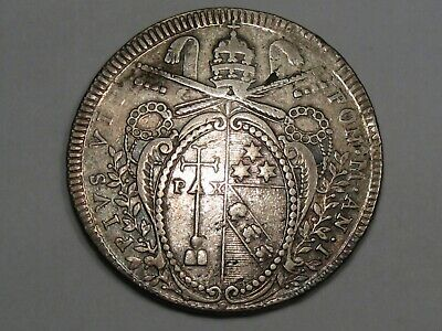 PAPAL States Coin: Silver 1800 Scudo (Old Cleaning). Pope Pius VII. KM-1248.1.