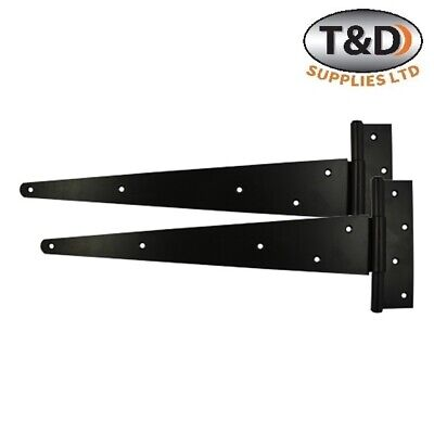 "Tee Hinges gate shed garden Epoxy Black 4"" 6"" 8"" 12"" 14"" 16"" 18"" 24"" (PAIR)"