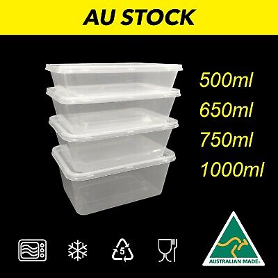 Take away Containers Takeaway Food Plastic Lids Bulk 500ml 650ml 750ml 1000ml