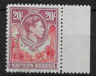 Northern Rhodesia Sg45 1938 20/= Carmine-Red & Rose-Purple Used