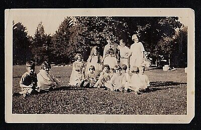 Old Antique Photograph Bunch of Children Sitting In A Field
