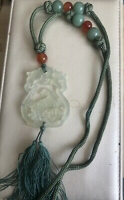 Fine Vintage Jade /Jadeite Carved Pendant Birds With Tassel