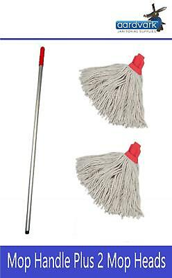 Professional Colour Coded Mop Handle and 2 16oz Mop Heads Red