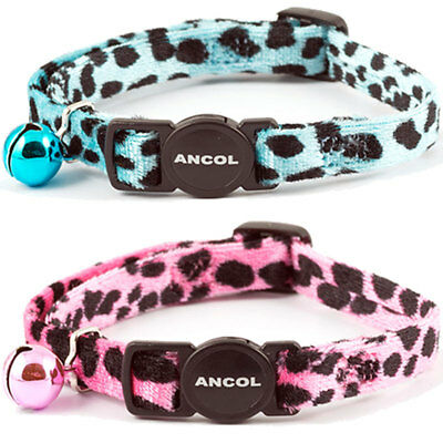 Ancol Soft Lush Velvet Leopard Cat Collar With Safety Buckle Warning Bell