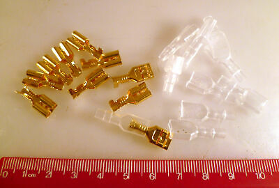 6.3mm Old 1/4 Inch Female Insulated Crimp Terminals Gold Pltd 10 Pieces MBD007i