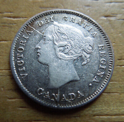 Canada 1870 Narrow Raised Rim Five 5 Cents Queen Victoria Silver Coin