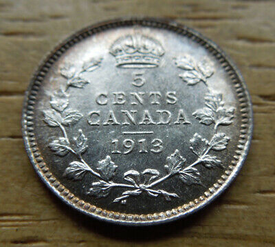 Canada 1913 Five 5 Cents King George V Silver Coin UNC