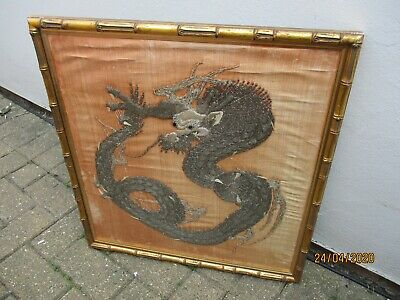 An Antique Japanese Chinese Silk Embroidered Framed Picture-c1900-Dragon